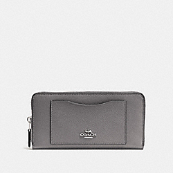 COACH F54007 - ACCORDION ZIP WALLET HEATHER GREY/SILVER