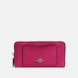 COACH F54007 Accordion Zip Wallet SILVER/HOT PINK