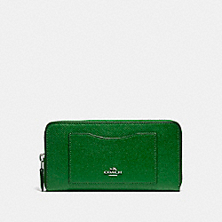 COACH F54007 Accordion Zip Wallet SILVER/KELLY GREEN