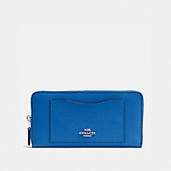 COACH F54007 Accordion Zip Wallet In Crossgrain Leather SILVER/LAPIS