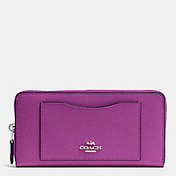 COACH F54007 Accordion Zip Wallet In Crossgrain Leather SILVER/HYACINTH