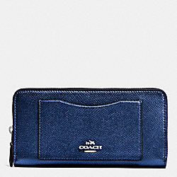 COACH F54007 Accordion Zip Wallet In Crossgrain Leather SILVER/METALLIC MIDNIGHT