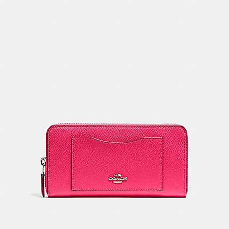 COACH f54007 ACCORDION ZIP WALLET SILVER/MAGENTA