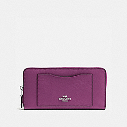 COACH F54007 - ACCORDION ZIP WALLET IN CROSSGRAIN LEATHER SILVER/MAUVE