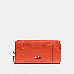 ACCORDION ZIP WALLET - f54007 - ORANGE RED/SILVER