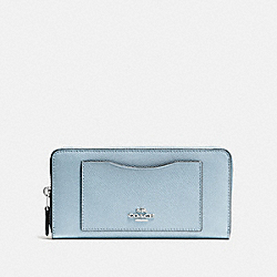 COACH F54007 - ACCORDION ZIP WALLET SV/PALE BLUE
