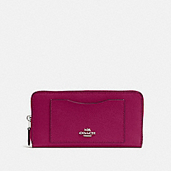 COACH F54007 Accordion Zip Wallet SV/DARK FUCHSIA