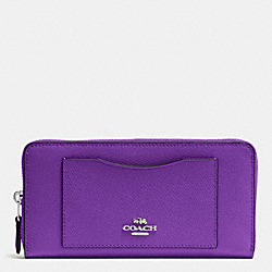 COACH F54007 Accordion Zip Wallet In Crossgrain Leather SILVER/PURPLE