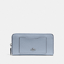 COACH F54007 Accordion Zip Wallet STEEL BLUE