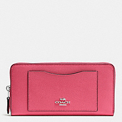 COACH F54007 Accordion Zip Wallet In Crossgrain Leather SILVER/STRAWBERRY
