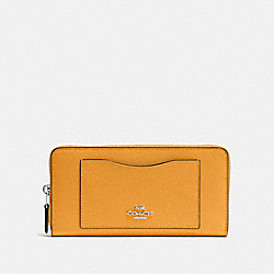 COACH F54007 Accordion Zip Wallet SILVER/TANGERINE