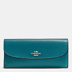 COACH F54008 Soft Wallet In Crossgrain Leather IMITATION GOLD/ATLANTIC