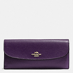 COACH F54008 Soft Wallet In Crossgrain Leather IMITATION GOLD/AUBERGINE