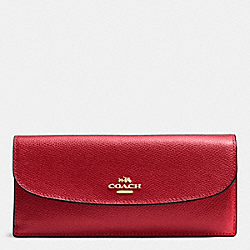 COACH F54008 Soft Wallet In Crossgrain Leather IMITATION GOLD/TRUE RED