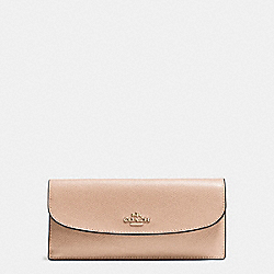 SOFT WALLET IN CROSSGRAIN LEATHER - f54008 - IMITATION GOLD/BEECHWOOD