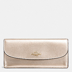 COACH F54008 Soft Wallet In Crossgrain Leather IMITATION GOLD/PLATINUM