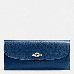 COACH F54008 Soft Wallet In Crossgrain Leather IMITATION GOLD/MARINA