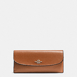 COACH F54008 Soft Wallet In Crossgrain Leather IMITATION GOLD/SADDLE