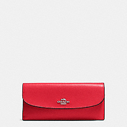 COACH F54008 Soft Wallet In Crossgrain Leather SILVER/BRIGHT RED