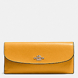 COACH F54008 Soft Wallet In Crossgrain Leather SILVER/MUSTARD