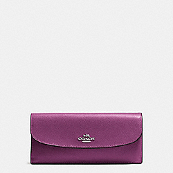 COACH F54008 - SOFT WALLET IN CROSSGRAIN LEATHER SILVER/MAUVE