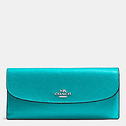 COACH F54008 Soft Wallet In Crossgrain Leather SILVER/TURQUOISE