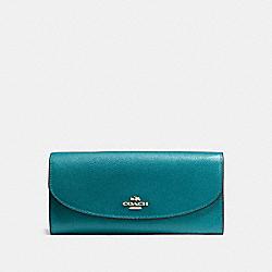 COACH F54009 Slim Envelope Wallet In Crossgrain Leather IMITATION GOLD/ATLANTIC