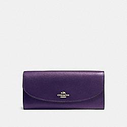 COACH F54009 Slim Envelope Wallet In Crossgrain Leather IMITATION GOLD/AUBERGINE