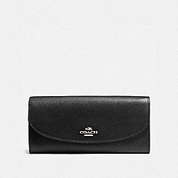 SLIM ENVELOPE WALLET IN CROSSGRAIN LEATHER - f54009 - IMITATION GOLD/BLACK