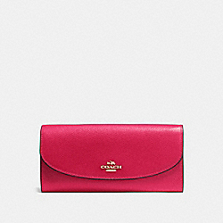 SLIM ENVELOPE WALLET IN CROSSGRAIN LEATHER - f54009 - IMITATION GOLD/BRIGHT PINK