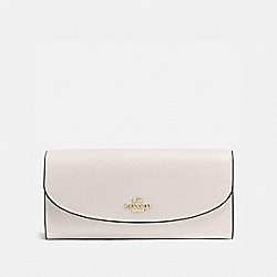 SLIM ENVELOPE WALLET IN CROSSGRAIN LEATHER - f54009 - IMITATION GOLD/CHALK