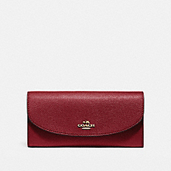 SLIM ENVELOPE WALLET IN CROSSGRAIN LEATHER - f54009 - LIGHT GOLD/CRIMSON