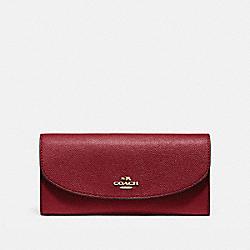 COACH F54009 Slim Envelope Wallet In Crossgrain Leather LIGHT GOLD/CRIMSON