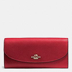 COACH F54009 Slim Envelope Wallet In Crossgrain Leather IMITATION GOLD/TRUE RED