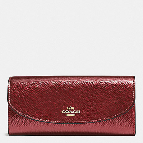 COACH f54009 SLIM ENVELOPE WALLET IN CROSSGRAIN LEATHER IMITATION GOLD/METALLIC CHERRY
