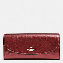 SLIM ENVELOPE WALLET IN CROSSGRAIN LEATHER - f54009 - IMITATION GOLD/METALLIC CHERRY