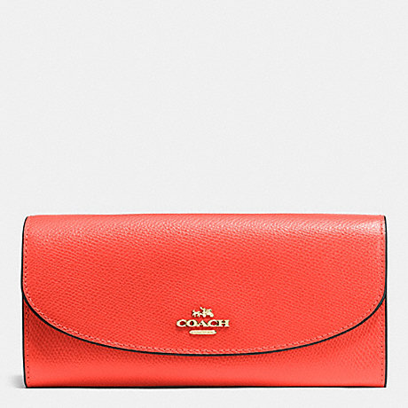 COACH f54009 SLIM ENVELOPE WALLET IN CROSSGRAIN LEATHER IMITATION GOLD/WATERMELON
