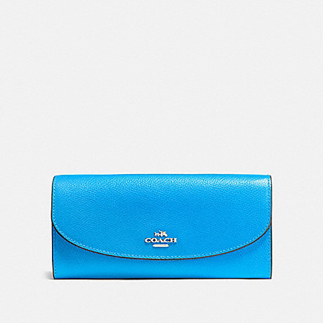 COACH f54009 SLIM ENVELOPE WALLET BRIGHT BLUE/SILVER