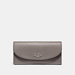 SLIM ENVELOPE WALLET IN CROSSGRAIN LEATHER - f54009 - SILVER/HEATHER GREY