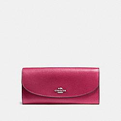 COACH F54009 Slim Envelope Wallet SILVER/HOT PINK