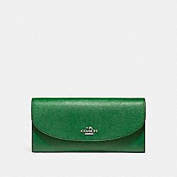 COACH SLIM ENVELOPE WALLET - SILVER/KELLY GREEN - F54009