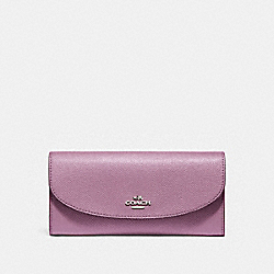 SLIM ENVELOPE WALLET IN CROSSGRAIN LEATHER - f54009 - SILVER/LILAC