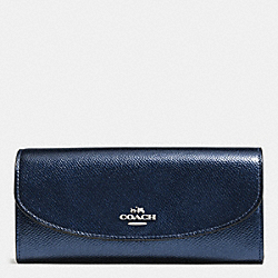 COACH F54009 Slim Envelope Wallet In Crossgrain Leather SILVER/METALLIC MIDNIGHT