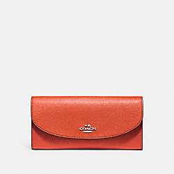 SLIM ENVELOPE WALLET - f54009 - ORANGE RED/SILVER
