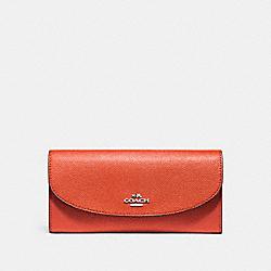 COACH F54009 Slim Envelope Wallet ORANGE RED/SILVER