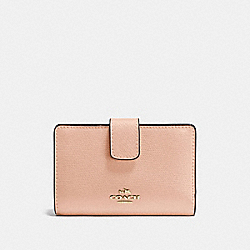 COACH F54010 - MEDIUM CORNER ZIP WALLET IN CROSSGRAIN LEATHER IMITATION GOLD/NUDE PINK