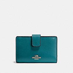 COACH F54010 Medium Corner Zip Wallet In Crossgrain Leather IMITATION GOLD/ATLANTIC