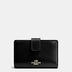COACH F54010 Medium Corner Zip Wallet In Crossgrain Leather IMITATION GOLD/BLACK