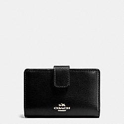 COACH F54010 Medium Corner Zip Wallet In Crossgrain Leather IMITATION GOLD/BLACK