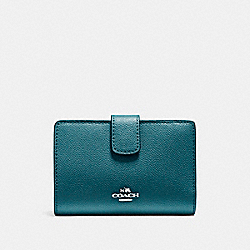 COACH MEDIUM CORNER ZIP WALLET IN CROSSGRAIN LEATHER - LIGHT GOLD/DARK TEAL - F54010